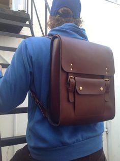 Leather laptoprucksack by wolfram Lohr