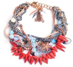 Coral and opalite stones bib necklace - Shop Now Maiden-Art.com #necklace #bib #statement #jewelry #coral #opal #summer #spring #red #seashell #starfish