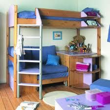 Bunk Beds With Desk And Sofa Bed Design Room Decors and Design Custom Bunk Beds, Wood Bunk Beds, Kids Bunk Beds, Bunk Bed With Desk, Bunk Beds With Stairs, Elevated Bed, Bunk Bed Plans, Sofa Bed Design, Bunk Bed Designs