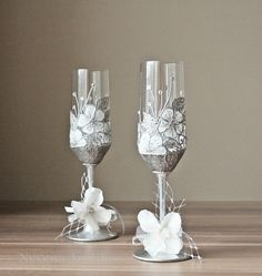 Hand Painted Glasses, CRYSTAL Wedding Glasses, Champagne Glasses, Toasting Flutes, set of 2
