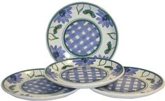 Caleca Margherita 4 piece salad plate set by Caleca. $36.95. Chip-resistant. Includes four art; 407 salad plates. Dishwasher safe; microwavable. All natural majolica/ceramic components individually hand-painted with non-toxic glazes and colors. Margherita, a traditional pattern combining cheerful daisy petals and small leaves, which extend on the plate border decorated with a classic plaid motif of glazed and intense colors, ideal for a table setting with strong...
