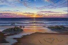 Ocean Sunset Beach Oil Painting by WesVanDykeART on Etsy, $325.00