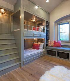 Bunk room built ins. Small Bunkroom with built in stair. Bunk room with built-in stairs, bookcase and window-seat. Small Bunkroom with built in stairs. Small Bunkroom with built in stair #SmallBunkroom #bunkroomuiltinstairs Frankel Building Group.