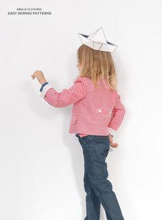 Mina girls BLAZER pattern - toddler jacket pattern pdf - from 2 to 7 years Sewing Patterns Girls, Beginner Sewing Patterns, Girls Dresses Sewing, Kids Clothes Patterns, Sewing For Beginners, Sewing Clothes, Clothing Patterns, Blazer Pattern, Jacket Pattern