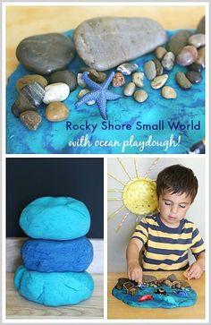 Rocky Shore Sensory Play (w/ an Ocean Playdough Recipe)- A fun tide pool imaginative play activity for preschoolers! ~ BuggyandBuddy.com