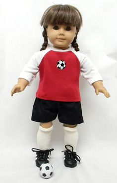 Soccer Outfit for 18 inch doll like the American Girl. Complete with shoes,socks, and soccer ball