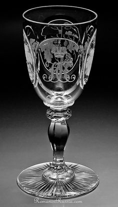 Height 5 3/4 in. (14,5 cm)  A RARE Imperial Russian antique wine glass of Grand Duke Nicholas Nikolaevich. Originally, the service was made for Grand Duke Nicholas Nikolaevich the Older in the mid 19th century. After his death in 1891, the service was inherited by his son Grand Duke Nicholas Nikolaevich the Younger (1856-1929).  The glass is decorated with Grand Duke's monogram - interlaced HH beneath Imperial crown. The other three medallions are skilfully engraved with grapevines.