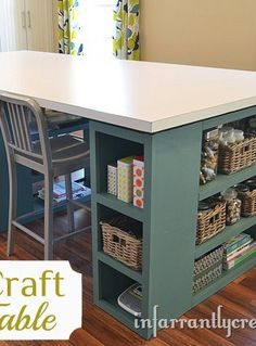 Large craft room table instead of legs use bookcases - I would have a larger tabletop so additional chairs could be placed for craft night!
