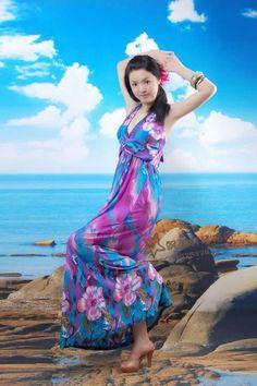 Women Bohemian Flower Print Halter Sleeveless Floor Length Purple Polyester Dress S/M/L@II0146pu
