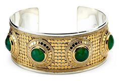 Gili Chrysoprase Stone Cuff, 18-kt gold-plated disks layered on top of sterling silver