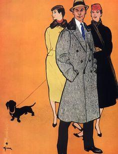 Illustration Vintage - Mode Homme et Femme - Gruau - 1955