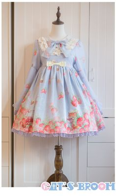 Cat's Broom Sweet Strawberry Jam and Sweet Lemon Jam one piece dress pre-order Harajuku Fashion, Kawaii Fashion, Lolita Fashion, Cute Fashion, Visual Kei, Japanese Fashion, Asian Fashion, Mode Lolita, Lolita Style