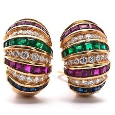 Estate 15.50cts Diamond Sapphire Ruby Emerald Gold Earrings