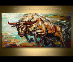 $480 Painting Red Horn ORIGINAL Oil texture on canvas from Paula Nizamas Bull art Animal interior design art ready to hang