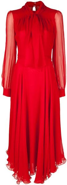 red gucci silk chiffon dress