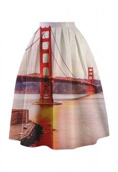 Golden Gate Bridge Printed Midi Skirt