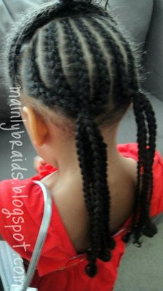 mainly braids: cornrow & braid styles.  I like the two low pony's at the back