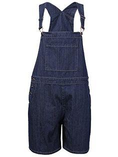 df858c8f1447 DenimFly Women s Loose Denim Bib Harem Short Jeans Overalls Jean Overalls