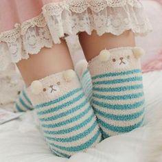 3d863490d Blue Baby Teddy Bear Striped Thigh Highs Stockings Socks! So Kawaii! Fluffy