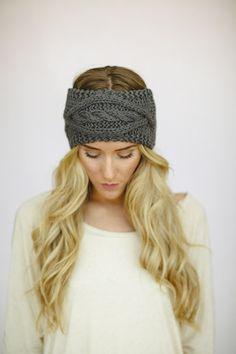 Grey Cable Knitted Headband Ear Warmer   Coming Soon