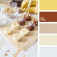 banana, beige color, bright yellow, coffee, color of banana pulp, color of chocolate, color of parchment, dirty white, pastel shades, shades of beige, shades of brown, silver color, warm shades, warm yellow, Yellow Color Palettes.