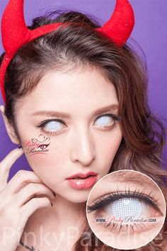 Princess Pinky Cosplay White Mesh Circle Lenses (Colored Contacts)