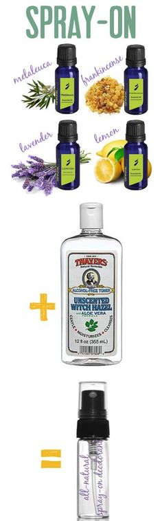 natural deodorant spray on - using lavender, Lemon, melaleuca and Frankincense essential oils plus witch hazel