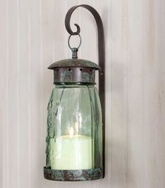 RUSTIC Quart Mason Jar Hanging Wall Sconce Lantern Hurricane Lamp screw on top Quart Mason Jars, Mason Jar Candle Holders, Mason Jar Lanterns, Mason Jar Wall Sconce, Hanging Mason Jars, Hanging Candles, Candle Jars, Glass Candle, Jar Lamp