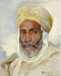 Algérie - Peintre Belge EMILE DECKERS (1885-1968), Huile sur toile, titre : Portrait Arabe