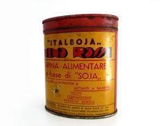 Vintage Italian Soy Flour Tin Box - Red and Yellow