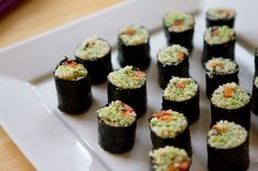 Phase 2 Vegans only: (Omit miso) Edamame Pate California Rolls are a perfect vegan Phase 2 meal for two! Roll in nori with red pepper and celery sticks.