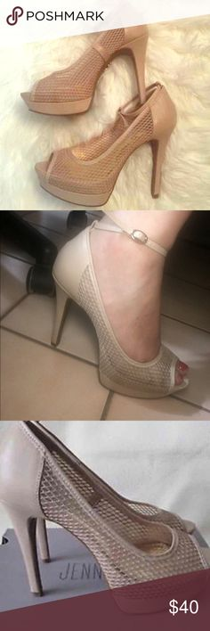 Jennifer Lopez Heels Super sexy!! Nude. Mesh . Strap goes around ankle. Very comfortable. With box 📦 size 7 Jennifer Lopez Shoes Heels