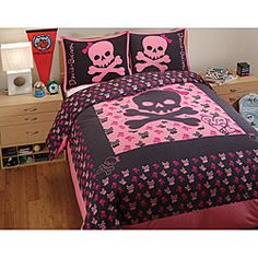 David and Goliath Skully Cotton Twin-size 2-piece Duvet Cover Set