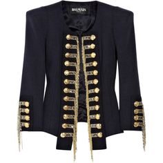 Balmain Silk-blend tweed military jacket found on Polyvore featuring polyvore, fashion, clothing, outerwear, jackets, coats, tops, navy jacket, navy blue military jacket and navy tweed jacket