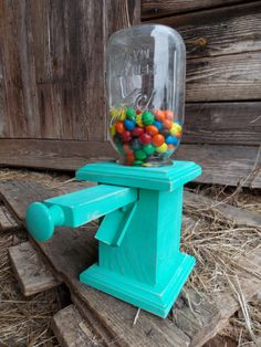 Mason Jar Candy Dispenser Wood Mason Jar Peanut Dispenser Stand Pull Handle…