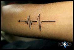 Arrow heart life line heart beat tattoo design…