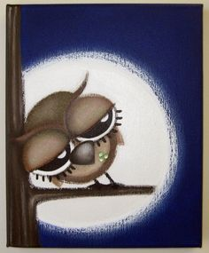 sLeePy oWL 8x10 original painting on canvas by art4barewalls, $35.00