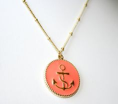 Pink Salmon and Gold Anchor Necklace - Nautical Themed Necklace