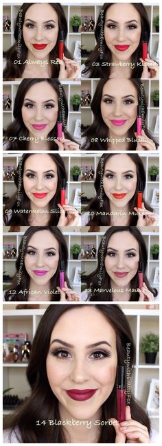 Sephora Cream Lip Stain Swatches - 01 Always Red, 03 Strawberry Kissed, 07 Cherry Blossom, 08 Whipped Blush, 09 Watermelon Slice, 10 Mandarin Muse, 12 African Violet, 13 Marvelous Mauve and 14 Blackberry Sorbet