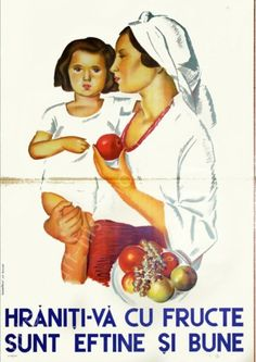 Romanian vintage ads, dating approximately from the period in between the 2 world wars, that promote the importance of eating fruits. Vintage Travel Posters, Vintage Ads, History Posters, Vintage Graphic Design, What Is Love, Old Pictures, Nostalgia, Illustration Art, Bathroom Inspo