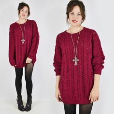 vtg 80s 90s grunge MAROON CABLE KNIT slouchy OVERSIZED sweater mini dress S/M/L $48.00