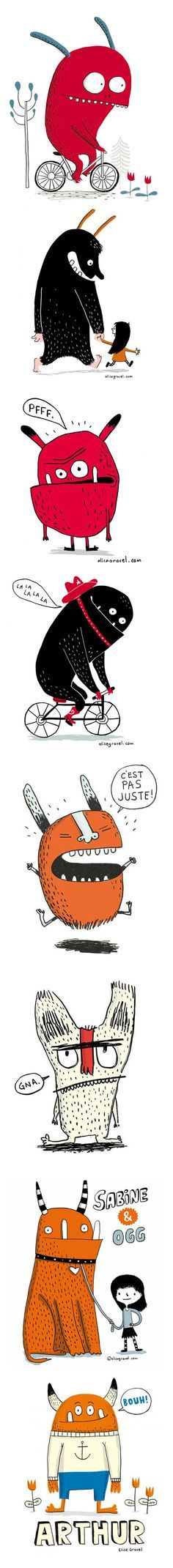 Elise Gravel • Monsters • Illustration • Characters • cute • orange • red • kids