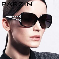 Parzin Womens Polarized Sunglasses Brands UV 400 Star Style Fashion Sun Glasses Designer With Box Black Coffee 6208