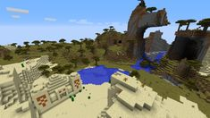 Desert Temple With Diamonds and an Acacia Village