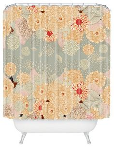 A bevy of beautiful blossoms adorns this spirited shower curtain, designed by artist Iveta Abolina. It's made of machine-washable polyester, so it'll keep