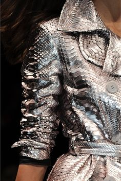 Metallic snakeskin coat by Blumarine - Milano (Vogue Italy) Pastel Outfit, Runway Fashion, High Fashion, Womens Fashion, Grey Fashion, Petite Fashion, Fall Fashion, Style Fashion, Fashion Details