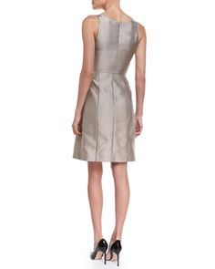 B32LF Armani Collezioni Sleeveless Fit-&-Flare Dress, Tan
