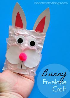 Bunny Kids Craft made from an Envelope. The envelope makes it fun to double as a puppet. from iheartcraftythings.com