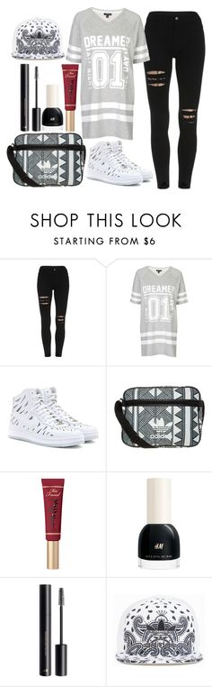 """""""Untitled #1327"""" by mihai-theodora ❤ liked on Polyvore featuring Topshop, NIKE, adidas Originals, Too Faced Cosmetics and H&M"""