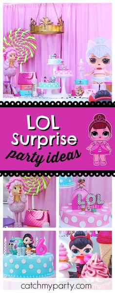 Check out this awesome LOL Surprise dolls birthday party! The dessert table and decor are stunning!! See more party ideas and share yours at CatchMyParty.com #partyideas #lolsurprisedoll